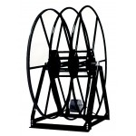 "Vacuum Reel- Standard Height Dual Capacity 100 ft. 2.5"" / 150 ft. 2"" Hose Electric Rewind Black"