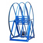 "Vacuum Reel- Standard Height Dual Capacity 100 ft. 2.5"" / 150 ft. 2"" Hose Electric Rewind Blue"