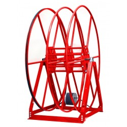"Vacuum Reel- Standard Height Dual Capacity 100 ft. 2.5"" / 150 ft. 2"" Hose Electric Rewind Red"