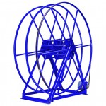 "Vacuum Reel- Extra Tall Dual Capacity 100 ft. 2.5"" /150 ft. 2"" Hose Electric Rewind: Blue"
