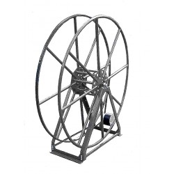 "Vacuum Reel- Extra Tall Single Capacity 300 ft. 2"" Hose Capacity Electric Rewind Silver"